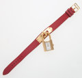 Luxury Accessories:Accessories, Hermes Gold Plated Kelly Watch with Rouge H Epsom Leather Strap....