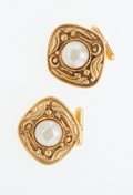 Luxury Accessories:Accessories, Chanel Gold and Faux Pearl Cufflinks. ...