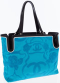 Luxury Accessories:Bags, Chanel Black Leather & Turquoise Canvas CC Tote. ...
