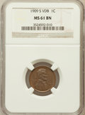 Lincoln Cents: , 1909-S VDB 1C MS61 Brown NGC. NGC Census: (97/935). PCGS Population(16/1033). Mintage: 484,000. Numismedia Wsl. Price for ...