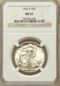 Walking Liberty Half Dollars: , 1942-D 50C MS65 NGC. NGC Census: (1553/1007). PCGS Population(2795/1252). Mintage: 10,973,800. Numismedia Wsl. Price for p...