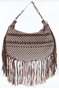 Marc Jacobs Metallic Brown Leather Fringe Hobo Bag