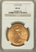 Saint-Gaudens Double Eagles: , 1910-D $20 MS64 NGC. NGC Census: (1747/480). PCGS Population(1963/1106). Mintage: 429,000. Numismedia Wsl. Price for probl...