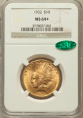 Indian Eagles: , 1932 $10 MS64+ NGC. CAC. NGC Census: (11129/2563). PCGS Population(8937/1250). Mintage: 4,463,000. Numismedia Wsl. Price f...