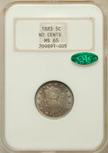 Liberty Nickels: , 1883 5C No Cents MS65 NGC. CAC. NGC Census: (1851/531). PCGSPopulation (1381/378). Mintage: 5,479,519. Numismedia Wsl. Pri...