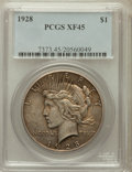 Peace Dollars: , 1928 $1 XF45 PCGS. PCGS Population (163/7887). NGC Census:(146/5888). Mintage: 360,649. Numismedia Wsl. Price for problem ...
