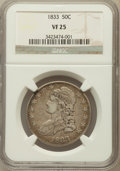 Bust Half Dollars: , 1833 50C VF25 NGC. NGC Census: (16/1348). PCGS Population(33/1502). Mintage: 5,206,000. Numismedia Wsl. Price for problem...