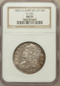 Bust Half Dollars, 1834 50C Large Date, Small Letters, O-106, R.1 AU53 NGC. PCGSPopulation (37/245)....