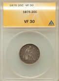 1875 20C VF30 ANACS. NGC Census: (7/376). PCGS Population (21/553). Mintage: 36,900. Numismedia Wsl. Price for problem f...
