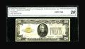 Small Size:Gold Certificates, Fr. 2402* $20 1928 Gold Certificate. CGA Very Fine 20.. ...