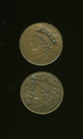 Counterstamps, Pair of Philadelphia Counterstamped Large Cents.... (Total: 2 items)