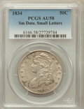Bust Half Dollars: , 1834 50C Small Date, Small Letters AU58 PCGS. PCGS Population(114/165). NGC Census: (0/0). ...