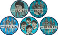 Music Memorabilia:Memorabilia, Beatles Set of Five Blue Flasher Buttons (Circa 1964).... (Total: 5Items)