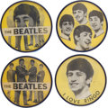 Music Memorabilia:Memorabilia, Beatles Group of Four Yellow Flasher Buttons (c. 1964).... (Total: 4 Items)