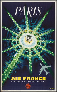 "Air France, Paris (1964). Travel Poster (24.5"" X 39""). Miscellaneous"