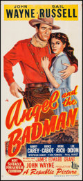 "Movie Posters:Western, Angel and the Badman (Republic, 1947). Australian Daybill (13.5"" X30""). Western.. ..."