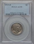 Buffalo Nickels: , 1915-D 5C AU55 PCGS. PCGS Population (104/903). NGC Census:(46/743). Mintage: 7,569,000. Numismedia Wsl. Price for problem...