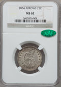 Seated Quarters: , 1854 25C Arrows MS62 NGC. CAC. NGC Census: (55/141). PCGSPopulation (42/138). Mintage: 12,380,000. Numismedia Wsl. Pricef...