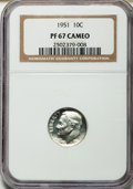 Proof Roosevelt Dimes: , 1951 10C PR67 Cameo NGC. NGC Census: (160/89). PCGS Population(116/7). Numismedia Wsl. Price for problem free NGC/PCGS co...