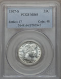 Barber Quarters, 1907-S 25C MS64 PCGS....