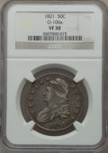 Bust Half Dollars: , 1821 50C VF30 NGC. O-106a. NGC Census: (25/523). PCGS Population(35/605). Mintage: 1,305,797. Numismedia Wsl. Price for p...