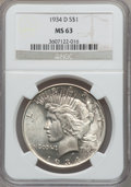 Peace Dollars: , 1934-D $1 MS63 NGC. NGC Census: (1141/1059). PCGS Population(1500/1732). Mintage: 1,569,500. Numismedia Wsl. Price for pro...