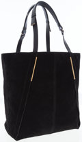Luxury Accessories:Accessories, Lanvin Black Suede Calfskin Tote with Leather Handles and Brushed Gold Accents. ...