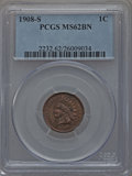 1908-S 1C MS62 Brown PCGS. PCGS Population (61/155). NGC Census: (103/195). Mintage: 1,115,000. Numismedia Wsl. Price fo...