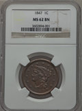 Large Cents: , 1847 1C MS62 Brown NGC. NGC Census: (81/246). PCGS Population(16/110). Mintage: 6,183,669. Numismedia Wsl. Price for probl...