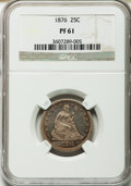 Proof Seated Quarters: , 1876 25C PR61 NGC. NGC Census: (7/158). PCGS Population (16/157).Mintage: 1,150. Numismedia Wsl. Price for problem free NG...