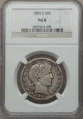 Barber Half Dollars: , 1893-S 50C VG8 NGC. NGC Census: (15/89). PCGS Population (32/189).Mintage: 740,000. Numismedia Wsl. Price for problem free...