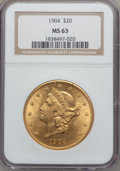 Liberty Double Eagles: , 1904 $20 MS63 NGC. NGC Census: (73199/40669). PCGS Population(54229/34928). Mintage: 6,256,797. Numismedia Wsl. Price for ...