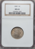 Liberty Nickels: , 1889 5C MS63 NGC. NGC Census: (66/408). PCGS Population (125/329).Mintage: 15,881,361. Numismedia Wsl. Price for problem f...