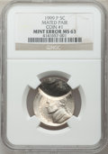 Errors, 1999-P 5C Jefferson Nickel -- Mated Pair -- NGC. Coin #1 MS63 and Coin #2 MS66 Six Full Steps. ... (Total: 2 coins)