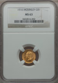 Commemorative Gold: , 1916 G$1 McKinley MS63 NGC. NGC Census: (368/1662). PCGS Population(782/3059). Mintage: 9,977. Numismedia Wsl. Price for p...