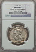 Walking Liberty Half Dollars, 1918 50C -- Improperly Cleaned -- NGC Details. XF. NGC Census:(10/699). PCGS Population (26/845). Mintage: 6,634,000. Numi...