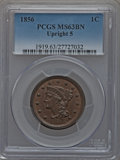 Large Cents: , 1856 1C Upright 5 MS63 Brown PCGS. PCGS Population (115/119). NGCCensus: (113/380). Mintage: 2,690,463. Numismedia Wsl. Pr...