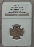 Errors, 1862 1C Indian Cent -- Reverse Die Break -- XF40 NGC....