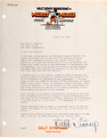 Movie/TV Memorabilia:Autographs and Signed Items, A Walt Disney Early Signed Letter, 1934....