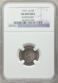 Early Half Dimes: , 1797 H10C 15 Stars -- Damaged -- NGC Details. AG. NGC Census:(0/171). PCGS Population (1/181). Mintage: 44,527. Numismedia...