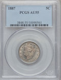 Liberty Nickels: , 1887 5C AU55 PCGS. PCGS Population (20/556). NGC Census: (10/415).Mintage: 15,263,652. Numismedia Wsl. Price for problem f...