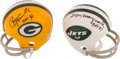 Football Collectibles:Others, Paul Hornung and Don Maynard Signed Mini Helmets and Sammy Baugh Signed Photograph....