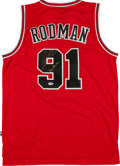 Baseball Collectibles:Uniforms, Dennis Rodman Signed Chicago Bulls Jersey....