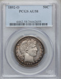 Barber Half Dollars: , 1892-O 50C AU58 PCGS. PCGS Population (39/129). NGC Census:(26/136). Mintage: 390,000. Numismedia Wsl. Price for problem f...