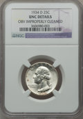 Washington Quarters: , 1934-D 25C Medium Motto -- Obv Improperly Cleaned -- NGC Details.UNC. NGC Census: (2/950). PCGS Population (7/1273). Minta...