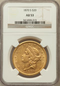 Liberty Double Eagles: , 1870-S $20 AU53 NGC. NGC Census: (196/568). PCGS Population(71/207). Mintage: 982,000. Numismedia Wsl. Price for problem f...