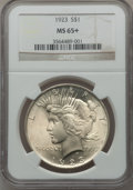 Peace Dollars: , 1923 $1 MS65+ NGC. NGC Census: (34473/3079). PCGS Population(15159/1757). Mintage: 30,800,000. Numismedia Wsl. Price for p...