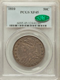 Bust Half Dollars: , 1810 50C XF45 PCGS. CAC. PCGS Population (83/308). NGC Census:(72/436). Mintage: 1,276,276. Numismedia Wsl. Price for prob...