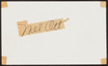 Baseball Collectibles:Others, Mel Ott Signed Cut Signature....