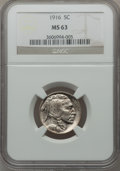 Buffalo Nickels: , 1916 5C MS63 NGC. NGC Census: (340/1127). PCGS Population(545/1648). Mintage: 63,498,064. Numismedia Wsl. Price forproble...